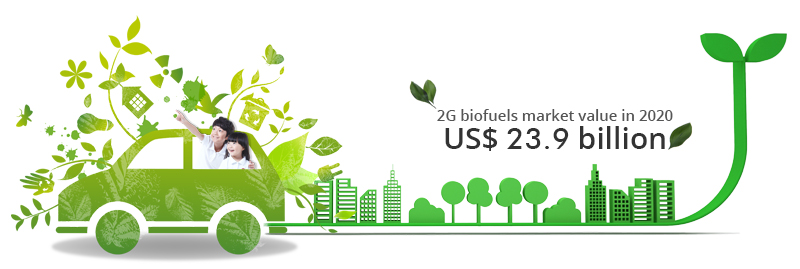 2G biofuels market value in2020 US$ 23.9 billion